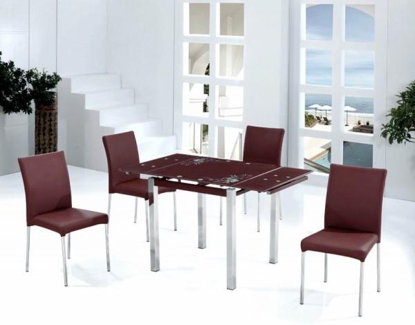 Купить стеклянный стол TB017-5 коричневый, кремовый, кухонный стеклянный стол TB017-5