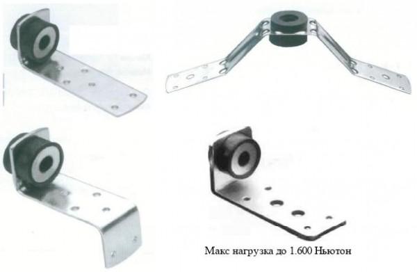 L, Z, V — образный крепеж с виброгасителем для монтажа воздуховодов и профнастила