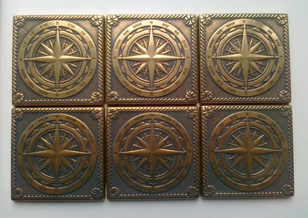 Латунная вставка Компас 7,5х7,5 см. для керамогранита и керамической плитки
