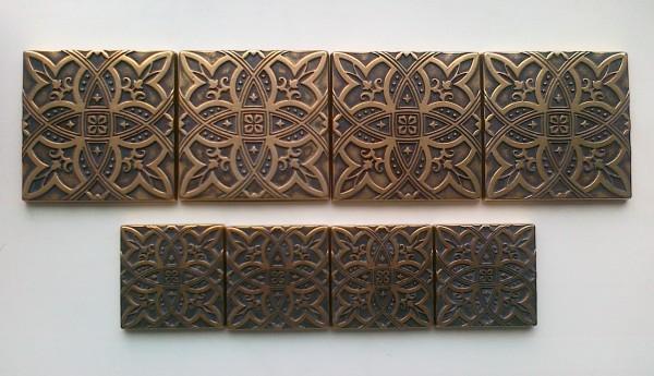 Латунная вставка Лилия 7,5х7,5 см. для керамогранита и керамической плитки