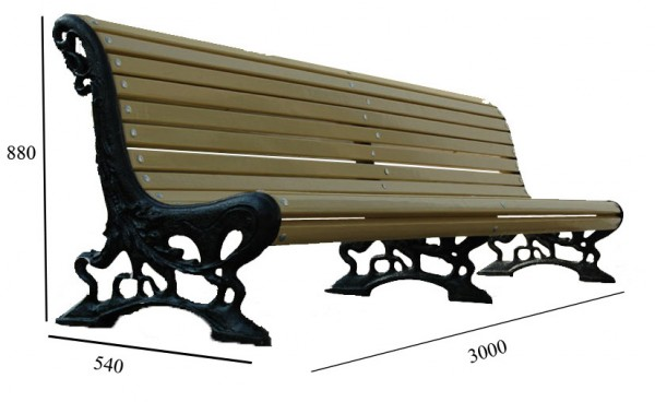 Лавка садово-парковая №9 1. Размер (ДхВхШ):3000 х 880 х 540 мм,2. Дерево: сосна, брус 50х40 мм, крашеная,3. Вес:255 кг.