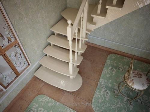 """Лестница Californi(стандарт)& quot;открытая""""п овор.90град выс.288см угол накл.38град. ш.95см ясень"""