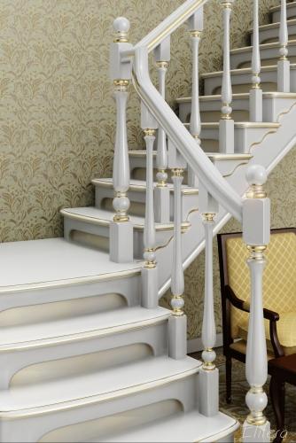 Лестница деревянная под белой патиной