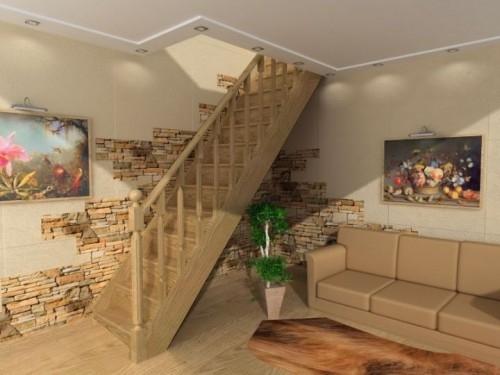 """Лестница деревянная""""SEVI LLA""""прямая, высота 280см ш.85см дуб"""