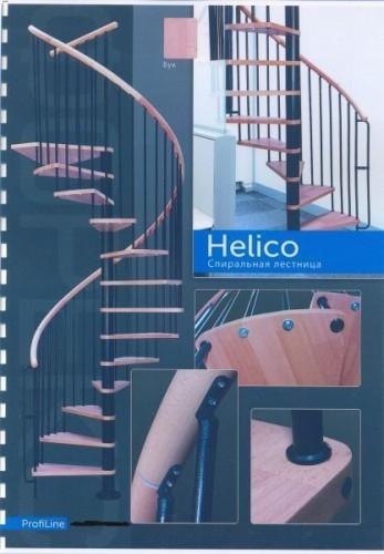 Лестница Helios с площад, спирал. поручень из бука, чёрн. цвет металл стоек и столба, ступени бук-массив лакиров, диам.140см