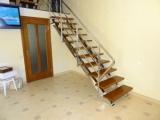 ЛЕСТНИЦА из нержавеющей стали с деревянными ступенями