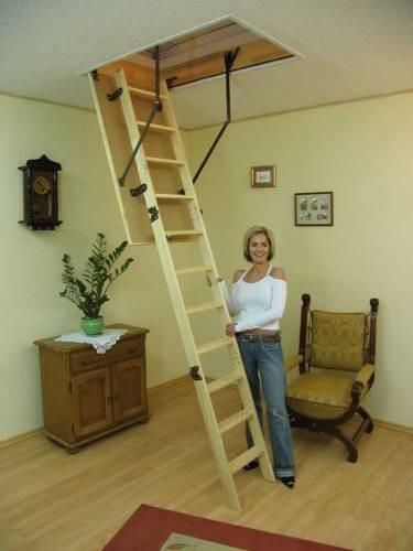 Лестница на чердак Оман термо 110*60 и 110*70, макс. высота помещения 2,8м. Деревяные ступеньки