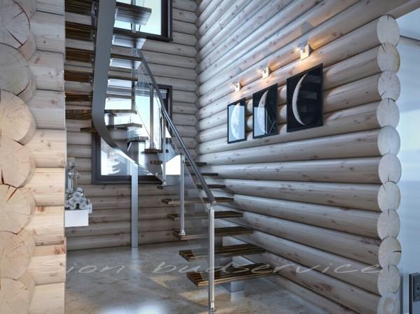 Лестница на металлическом центральном косоуре.