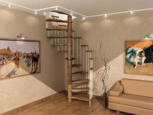 """Лестница """"VALENSIA"""" винтовая, высота 3 м, диаметр 140 см без площадки, центральный столб и ступени из дуба"""
