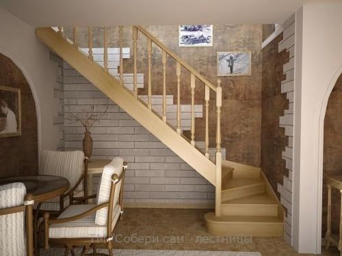 """Лестница""""Katalo nia""""comfort Сандарт пов. на 90 град. ,ступени:гл. =24см, в. =18см, перв. ступ. скруглён. ш.95см ясень"""