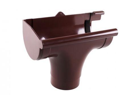 Ливнеприемник левый водосточной системы PROFIL 90/75;коричневый, белый;диаметр 90 мм