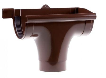 Ливнеприемник правый водосточной системы PROFIL 90/75;коричневый, белый;диаметр 75 мм