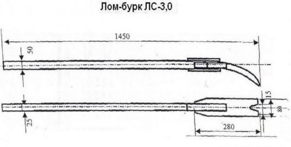 Лом-бурк (лом-бара) для демонтажа опалубки