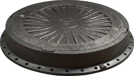 Люк канализационный полимерный (дорожный) с замком, чёрный, нагрузка - до 20т. Оптовым покупателям СКИДКИ!