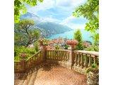 Фото  1 Фотообои - терраса с видом на прибрежный горный городок. Авторский фотоколлаж. 1442807