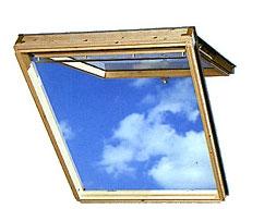 Мансардное окно Velux GPL. Окно открывается наружу снизу вверх, также открывается по центральной оси