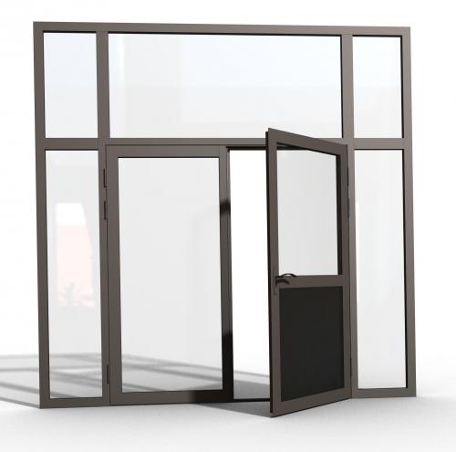 Маятниковые двери из алюминиевого профиля и цельностеклянные
