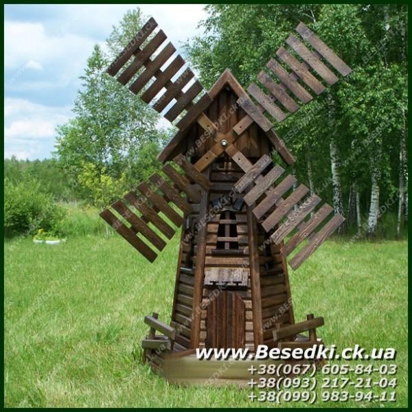 Мельница декоративная деревянная. Мельница для сада из дерева.