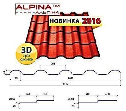 Металлическаячерепица - ALPINA 350/20 - Германия/Финляндия 0,5мм Матовая