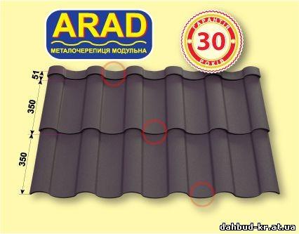 Металлочерепица ARAD Classic «Прушиньски» 0,5мм Purmat
