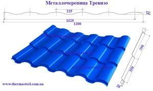 Металлочерепица Тревизо. Полиэстер 0,50 мм