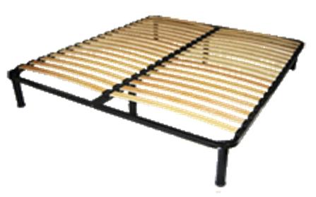 Металлокаркас ортопедической двухспальной кровати с буковыми ламелями на регулируемых ножках