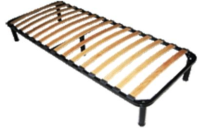 Металлокаркас ортопедической кровати с буковыми ламелями на регулируемых ножках