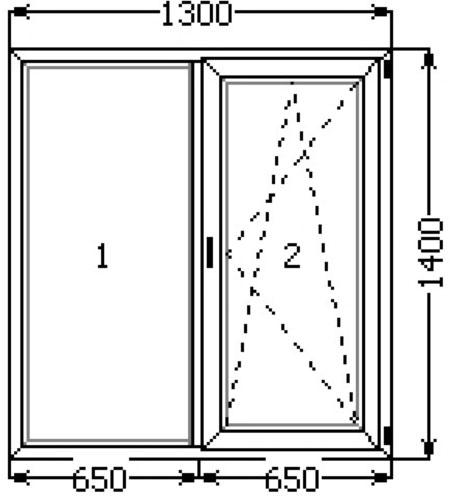 Металлопластиковое окно 1300х1400 профиль (KBE)