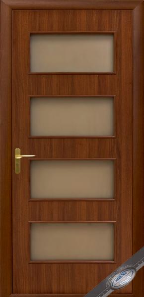 Межкомнатные двери МДФ, Новый Стиль, коллекция Квадра, Нера со стеклом