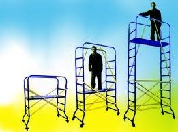 Мини – подмости передвижные превосходно заменяют лестницы и дают возможность выполнять работы на высоте до 3 метров.