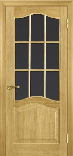 Міжкімнатні двері деревяні шпоновані. Модель 3, дуб, під скло. В комплекті з коробкою та налічніками на дві сторони.