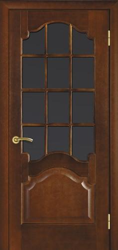 Міжкімнатні двері деревяні шпоновані. Модель 8, каштан, під скло. Коробка, налічніки