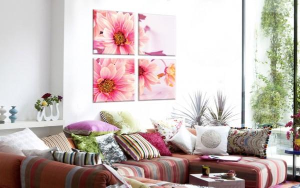 Модульная картина на холсте Розовые цветы - 870,00 грн
