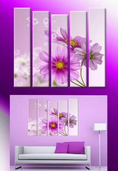 """Модульная картина """"Лиловые цветы"""""""