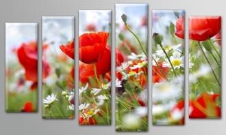 """Модульная Картина """"Поле цветов"""""""