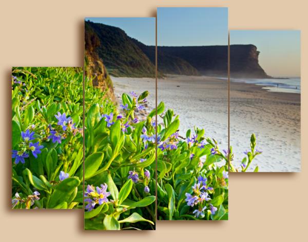 "Модульная картина ""Цветы на побережье"""