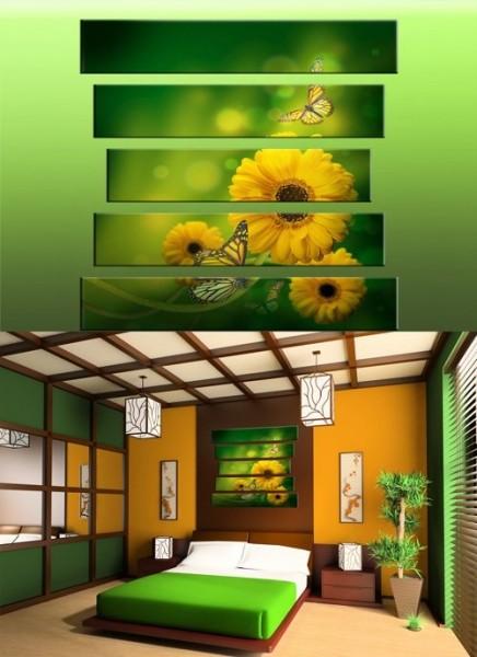 "Модульная картина ""Желтые цветы"""