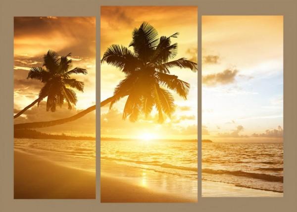 Модульная картина Закат под пальмами