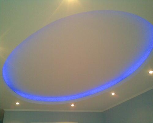 Монтаж гипсокартонных конструкций потолков со скрытой радиальной подсветкой