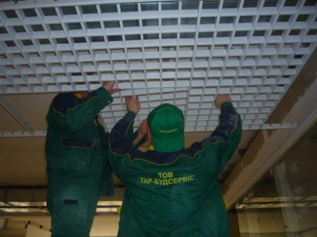 Монтаж подвесного потолка Грильято, комплексный ремонт торговых помещений,электромонтажные работи