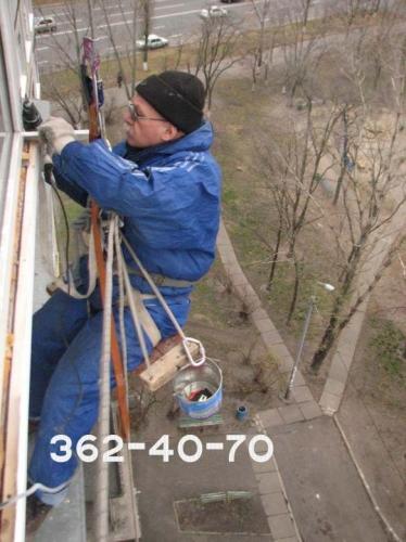 Монтаж сайдинга винилового на балконе, с применением техники промальпинизма. Материал плюс работа.