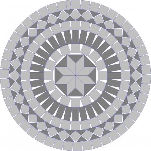 Мозаика для укладки двора из гранита т-30, R-850мм.
