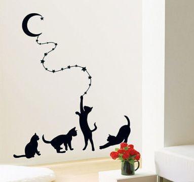 """Наклейка на стену """"Черные кошки"""""""