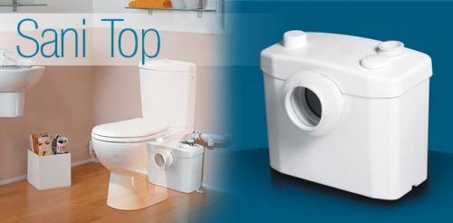 Насос-измельчитель для принудительной канализации SANITOP для подключения унитаза и умывальник.