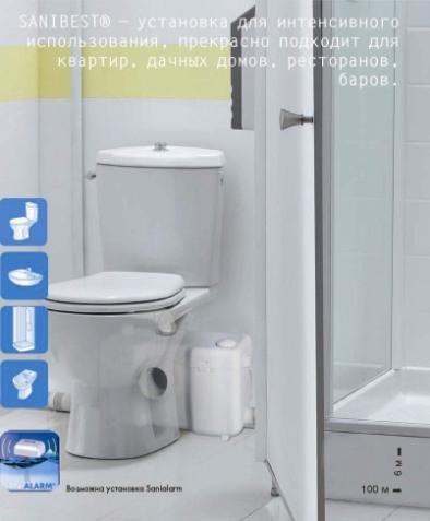 Насос-измельчитель SANIBEST, SFA Франция. Подключение: унитаз, умывальник, душ, биде. Гарантия 2 года.