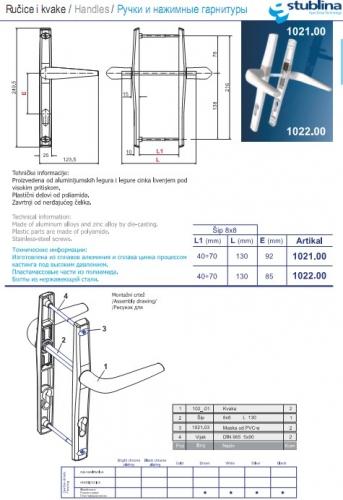Нажимной гарнитур 1021,1022 с накладкой шириной 25 мм