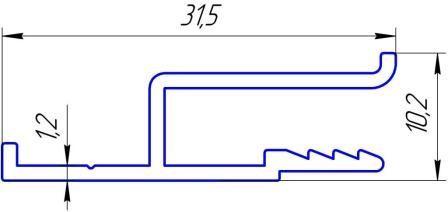 НП-1 алюминиевый профиль для натяжных потолков стеновой h - образный Длина 2,5м