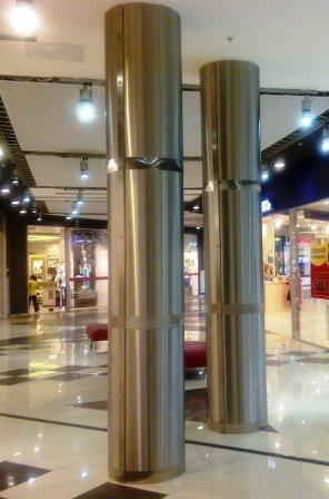 Облицовка нержавеющей сталью колонн, лифтов, лифтовых порталов, стен, потолков, полов