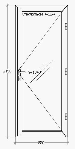 Одностворчатая входная теплая алюминиевая дверь 850*2150