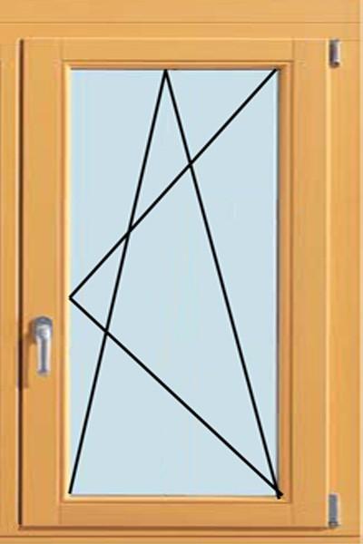 Одностворчатое, поворотно-откидное окно (от 600х1200 мм)
